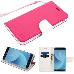 Samsung Galaxy J7 Hot Pink Pattern/White Liner wallet (with card slot) -WP