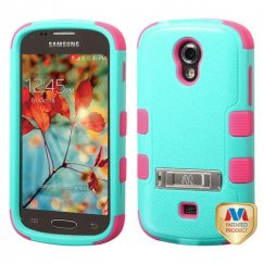 Samsung Galaxy Light Natural Teal Green/Electric Pink Hybrid Case with Stand