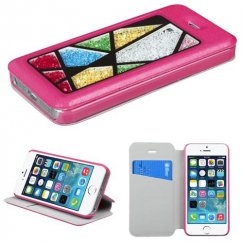 Apple iPhone 5/5s Hot Pink Wallet with Colorful Beads Inside Abstract Triangles