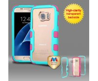 Samsung Galaxy S7 Natural Teal Green Frame????? PC Back/Electric Pink TUFF Vivid Hybrid Protector Cover