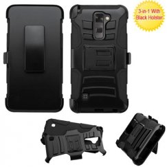 LG G Stylus 2 Black/Black Advanced Armor Stand Case with Black Holster