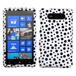 Nokia Lumia 820 Black Mixed Polka Dots Case