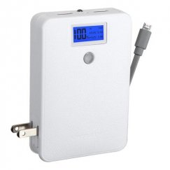 White Power Bank with LCD Display (Gray Button & Gray Micro USB to USB Cable) (10000 mAh)