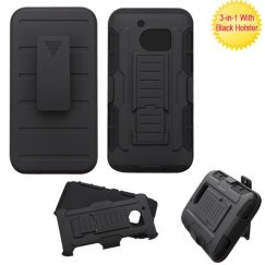 HTC 10 Black/Black Advanced Armor Stand Case with Black Holster