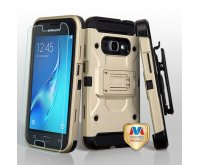 Gold/Black 3-in-1 Kinetic Hybrid Protector Cover Combo (with Black Holster)(Tempered Glass Screen Protector)
