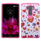 LG G Flex 2 Heart Graffiti(White)/Hot Pink Advanced Armor Protector Cover