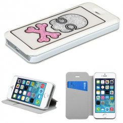 Apple iPhone 5s White Wallet with Colorful Beads Inside Skull