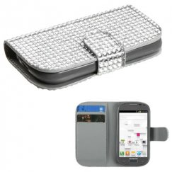 Samsung Galaxy Exhibit Silver Diamonds Book-Style Wallet with Card Slot