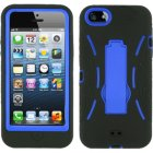 Apple iPhone 5 Hybrid Skin Case with Stand, Black with Blue Trim
