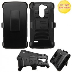 LG G Stylo Black/Black Advanced Armor Stand Case with Black Holster