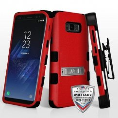 Samsung Galaxy S8 Plus Natural Red/Black Hybrid Case with Stand Military Grade with Black Horizontal Holster