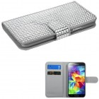 Samsung Galaxy S5 Silver Diamonds Book-Style Wallet with Card Slot