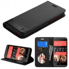 HTC Desire 626 Black/Black wallet with Card Slot