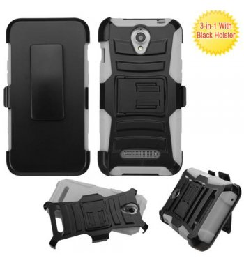 ZTE Obsidian Black/Gray Advanced Armor Stand Case with Black Holster