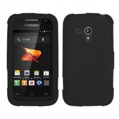 Samsung Galaxy Rush Solid Skin Cover - Black