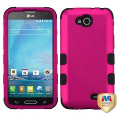 LG Optimus L90 Titanium Solid Hot Pink/Black Hybrid Case