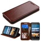 HTC One M9 Brown Wallet with Tray