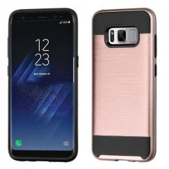Samsung Galaxy S8 Rose Gold/Black Brushed Hybrid Case