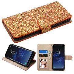 Samsung Galaxy S8 Plus Gold Hexagon Flakes Wallet with Card Slots