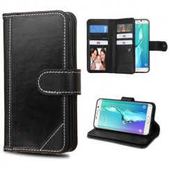 Samsung Galaxy S6 Edge Plus Black Genuine Leather Deluxe Wallet with Button Closure