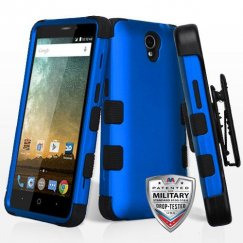 ZTE Prestige 2 Titanium Dark Blue/Black Hybrid Case Military Grade with Black Horizontal Holster