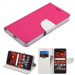 ZTE Grand X 4 Hot Pink Pattern/White Liner wallet with Card Slot