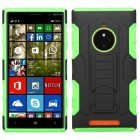 Nokia Lumia 830 Black/Electric Green Car Armor Stand Protector Cover (Rubberized)