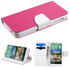 HTC Desire 510 Hot Pink Pattern/White Liner wallet with Card Slot