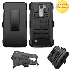 LG K7 Black/Black Advanced Armor Stand Case with Black Holster