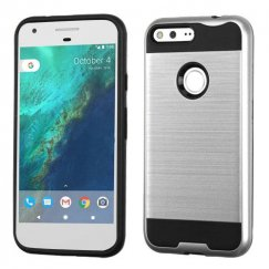 Google Pixel XL Silver/Black Brushed Hybrid Case
