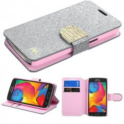 Samsung Galaxy Avant Silver Glittering Wallet with Diamante Belt