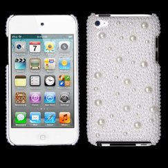 Apple iPod Touch (4th Generation) White Pearl Diamante Back Case