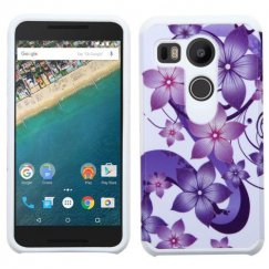 LG Nexus 5X Purple Hibiscus Flower Romance /White Advanced Armor Case