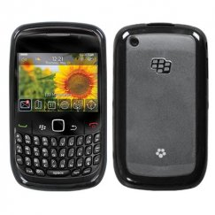Blackberry 8520 Transparent Clear/Solid Black Gummy Cover