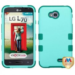 LG Optimus L70 Rubberized Baby Green/Forest Green Hybrid Case