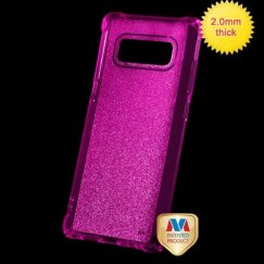 Samsung Galaxy Note 8 Transparent Hot Pink Sheer Glitter Premium Candy Skin Cover