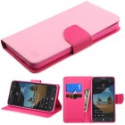 Alcatel One Touch Fierce XL Pink Pattern/Hot Pink Liner Wallet with Card Slot