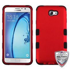 Samsung Galaxy On7 Titanium Red/Black Hybrid Case Military Grade