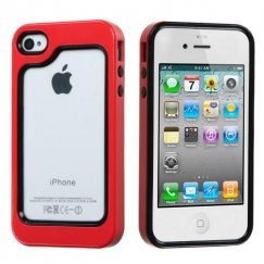 Apple iPhone 4/4s Black/Solid Red Case