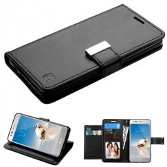 LG K8 / Phoenix 3 Black/Black PU Leather Wallet with extra card slots