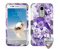 Purple Hibiscus Flower Romance/Iron Gray Hybrid Phone Protector Cover [Military-Grade Certified]
