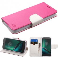 Motorola Moto E3 Hot Pink Pattern/White Liner wallet with Card Slot