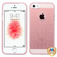 Apple iPhone SE Glassy Transparent Rose Gold SPOTS Candy Skin Cover