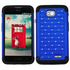 LG Optimus L70 Dark Blue/Black Luxurious Lattice Dazzling TotalDefense Case