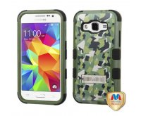 Samsung Galaxy Core Prime Geometric Camouflage/Black TUFF Hybrid Phone Protector Cover (with Stand)