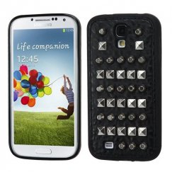 Samsung Galaxy S4 Black Black Leather Backing Metal Studs Candy Skin Cover