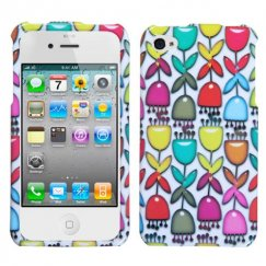 Apple iPhone 4/4s Colorful Flower Buds/White Case