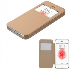 Apple iPhone 5/5s Gold Silk Texture Wallet with Transparent Frosted Tray