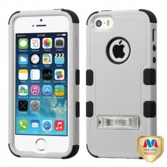 Apple iPhone 5 Natural Gray/Black Hybrid Case with Stand
