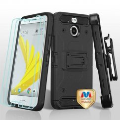 HTC Bolt Black/Black 3-in-1 Kinetic Hybrid Case Combo with Black Holster and Twin Screen Protectors